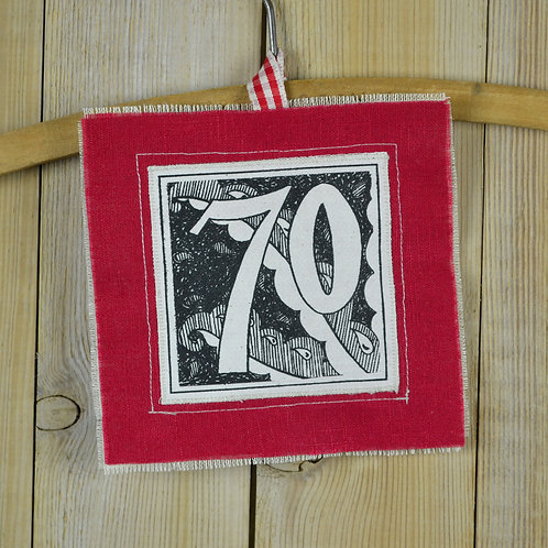 70th birthday card - red