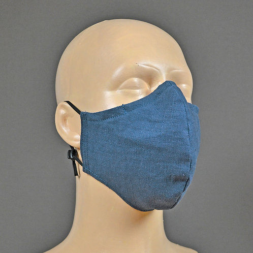triple layer linen fabric face mask - indigo blue