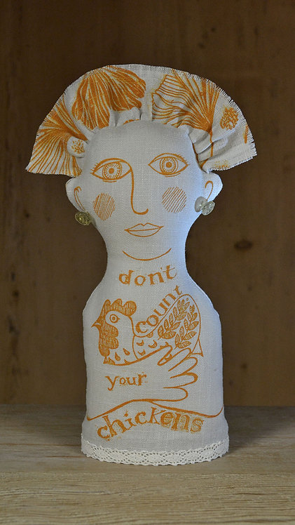 Jill Pargeter - handmade linen figure - 'don't count your chickens'