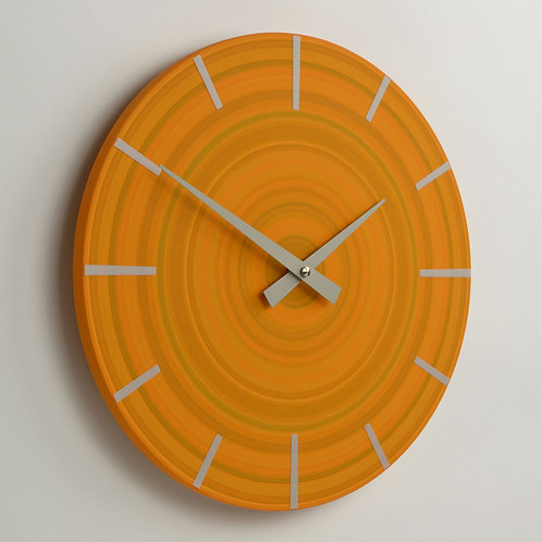 hand painted contemporary orange wall clock