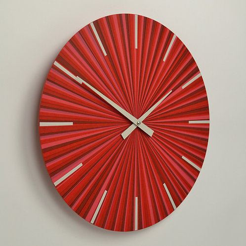 Inhouseclocks - British made red multi tone contemporary wall clock
