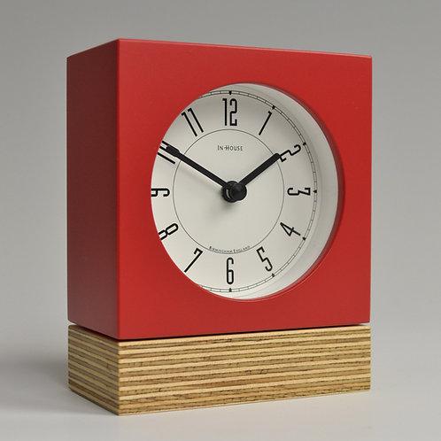 Inhouseclocks - handmade plywood desk clock with red case