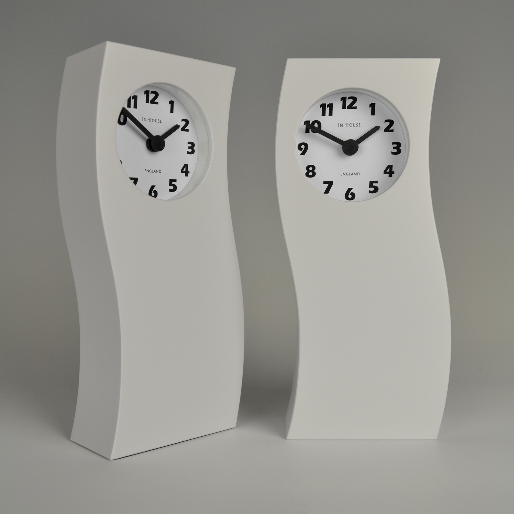 Inhouse clocks | handmade in England | tall white mantel clock
