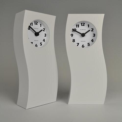 Inhouseclocks - simple tall white handmade mantel clock