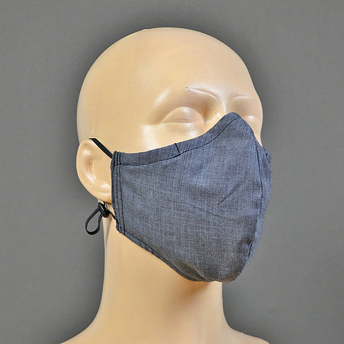 Triple layer adjustable 100% cotton face mask - grey