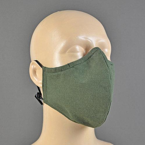 Green linen triple layer fabric face masks