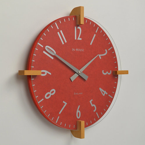 Handmade red wall clock with beech wood