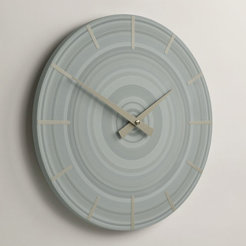 hand painted abstract pale blue wall clock