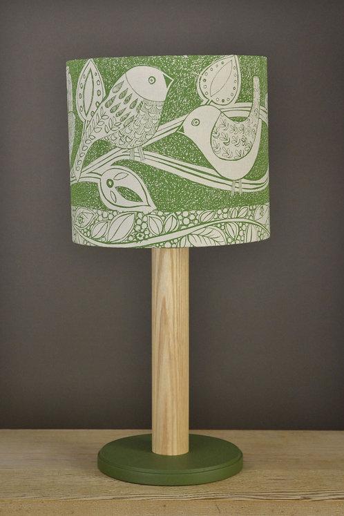 Table Lamp & Linen Shade - Birds  / green