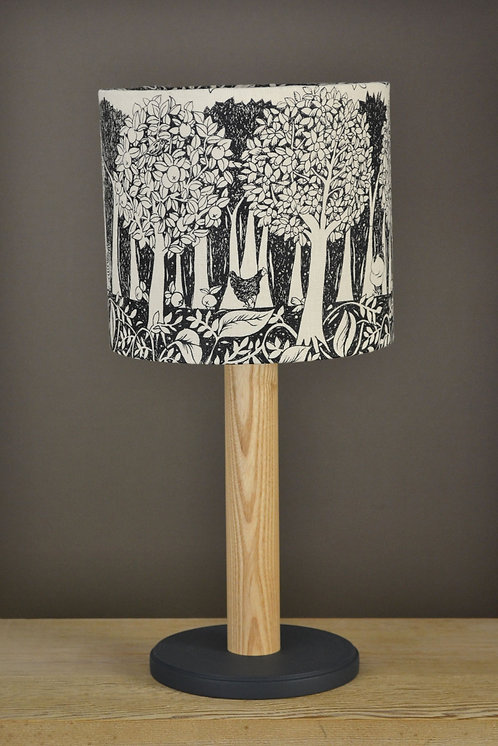 Table Lamp & Linen Shade - Orchard / Black