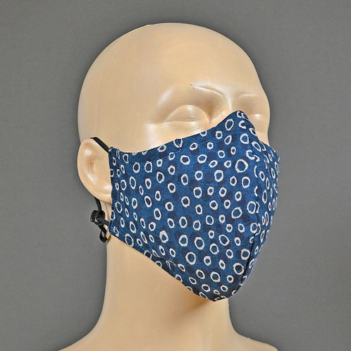 Triple layer fabric face mask - indigo blue spot