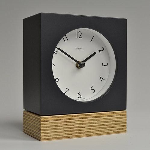 Inhouseclocks - handmade plywood mantel clock grey