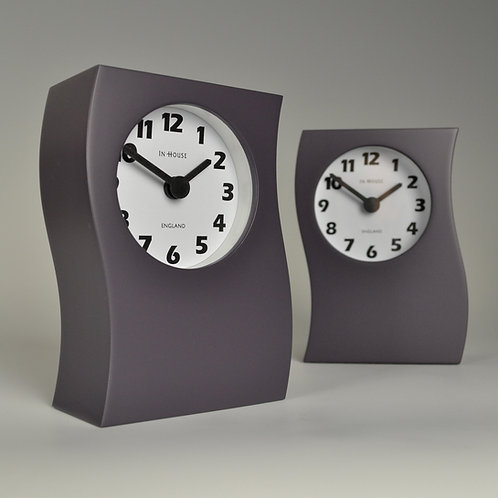 Inhouseclocks - plum coloured contemporary wave mantel clock