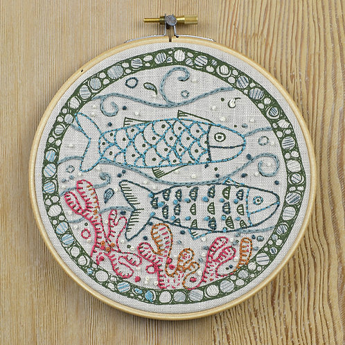 jill pargeter - embroidery kits - fishes