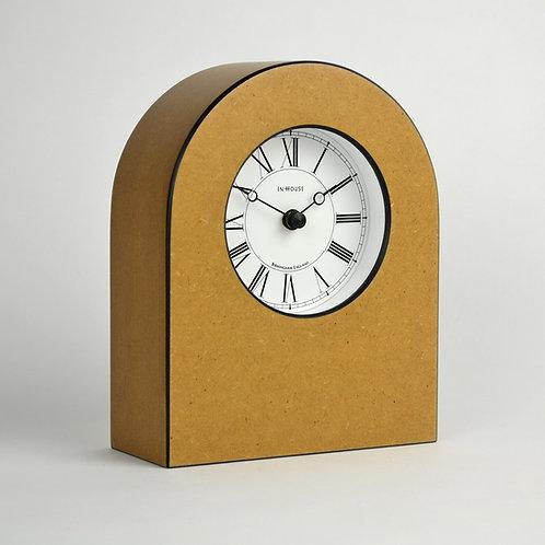 Arched wood mantel clock