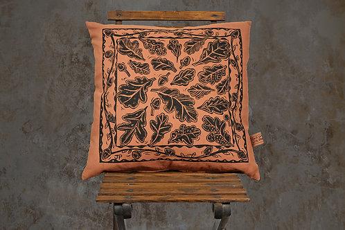 Jill Pargeter - oak leaf print - linen cushion