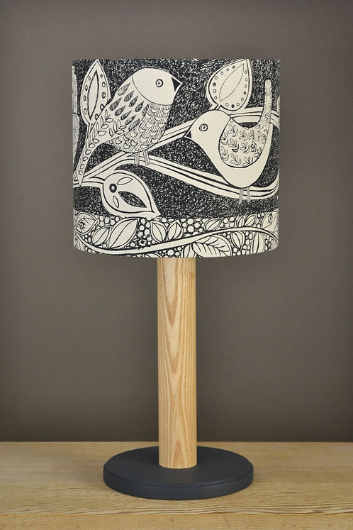 Table Lamp & Linen Shade - Birds  / black