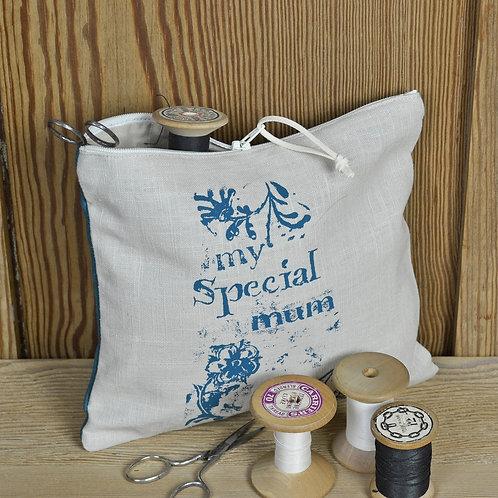 Linen Zip Bag - Mum