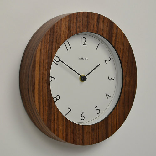 Inhouseclocks - small walnut wall clock with simple dial