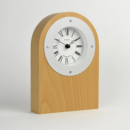 Handmade solid beech wood mantel clock