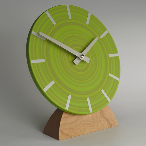 hand painted modern abstract green mantel clock