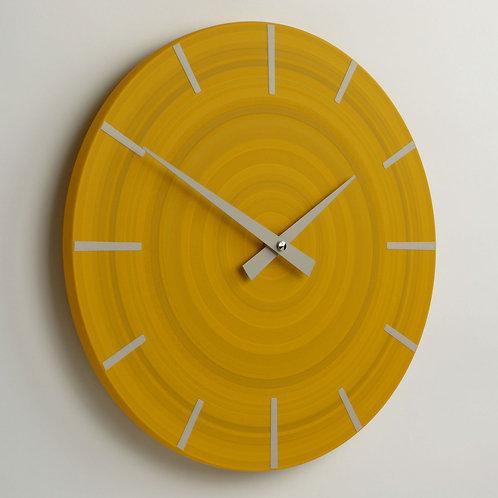 hand painted contemporary British made yellow wall clock
