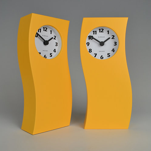Inhouseclocks - yellow handmade designer mantel clock