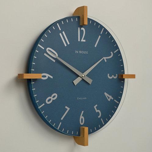 Contemporary denim blue wall clock handmade in England