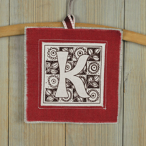 letter K - lavender filled keepsake