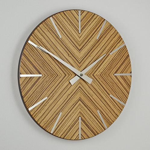 Zebrano wood wall clock handmade in UK