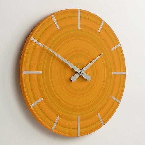 Handmade abstract wall clock - Orange - 30cm diameter