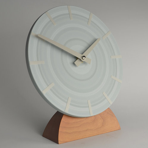hand painted abstract pale blue mantel clock