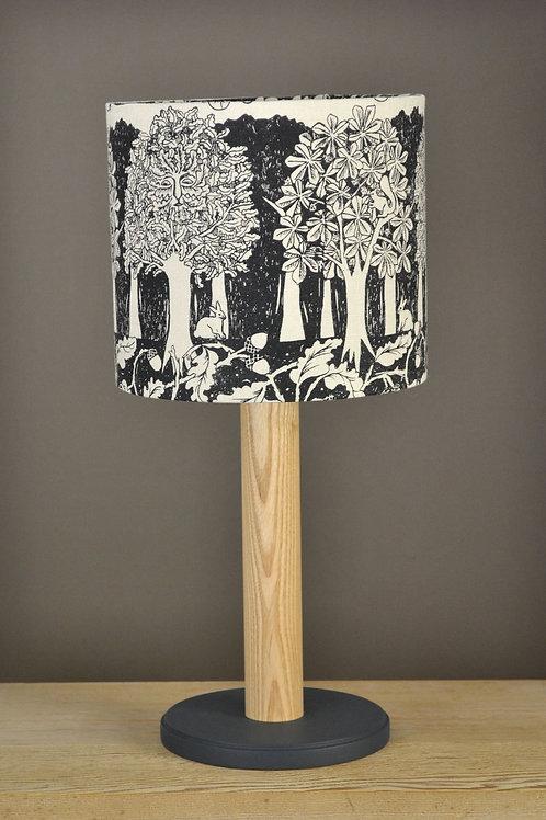 Table Lamp & Linen Shade - Oakwood - Black