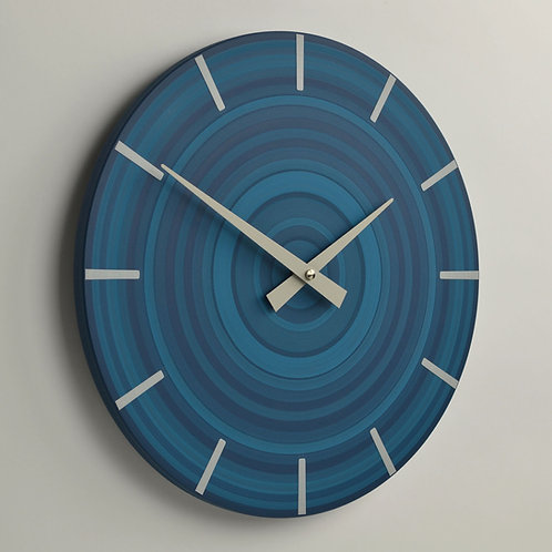 hand painted modern abstract blue wall clock