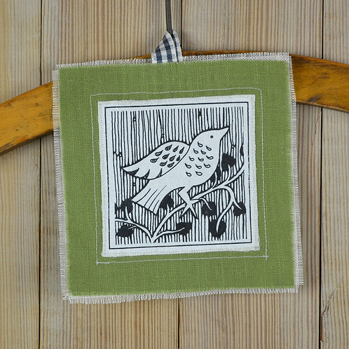 lavender keepsake - green bird