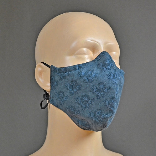 triple layer 100% cotton fabric face mask - indigo blue