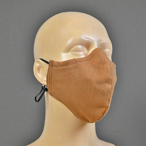 triple layer adjustable cotton fabric face mask - brown