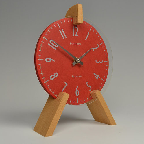 Inhouseclocks - simple handmade modern red mantel clock