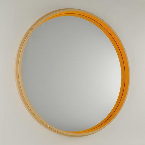 Inhouse - large circular modern beech wood mirror
