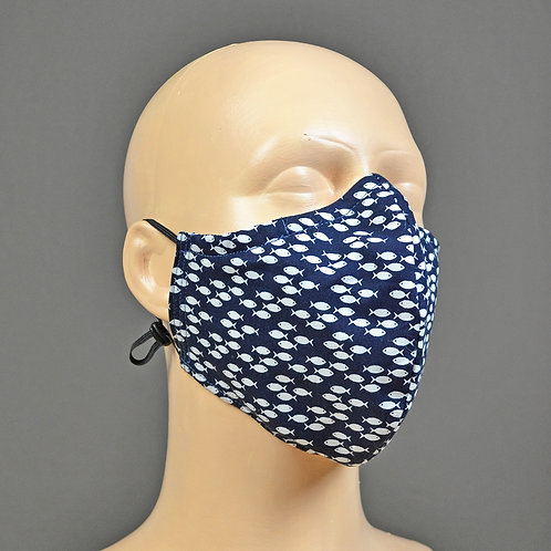 handmade triple layer cotton face masks - navy blue