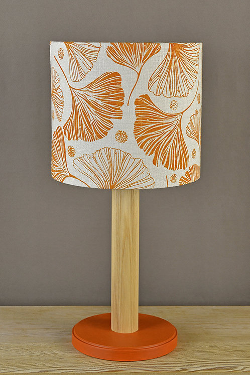 Table Lamp & Linen Shade - Ginkgo / amber