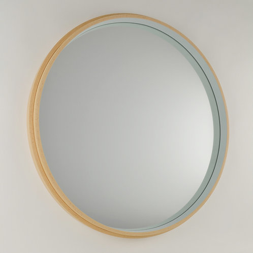 Inhouse - British handmade large circular beech wood mirror