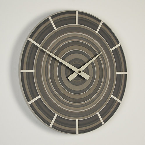 handmade contemporary wall clock - warm grey