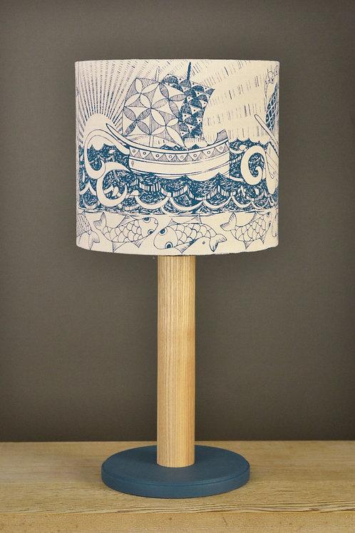 Table Lamp & Linen Shade - Ships  / indigo