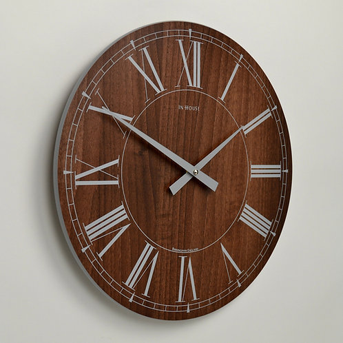 Inhouse Clocks 'Station' wall clock Walnut 48cm Roman dial
