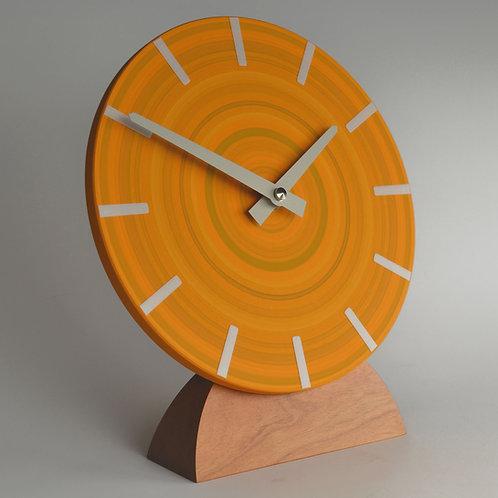 hand painted modern abstract orange mantel clock