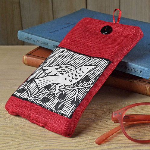 Linen Glasses Case - Bird