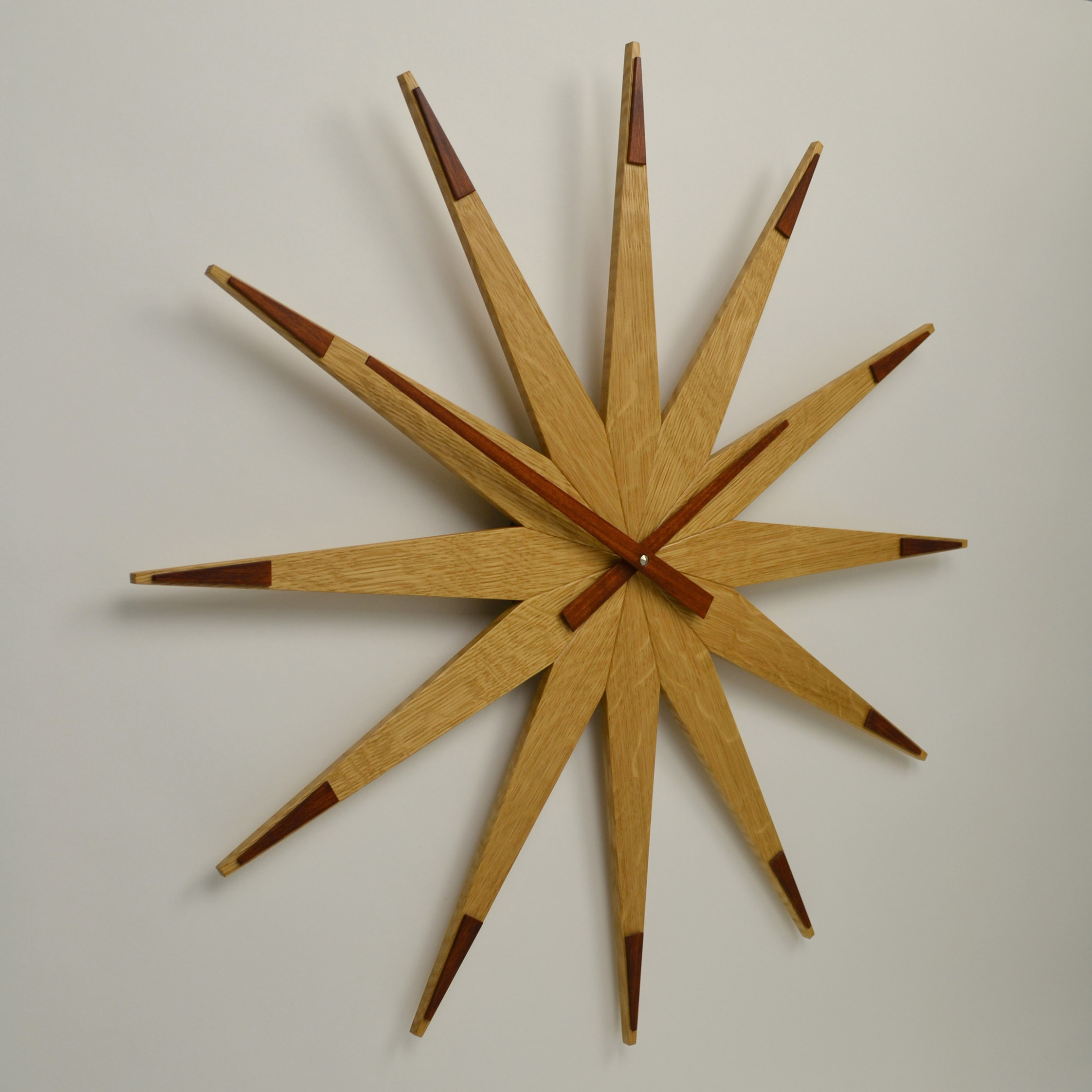 large handmade solid oak wall clock