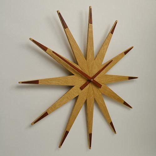 Inhouseclocks - handmade oak star wall clock with wooden hands