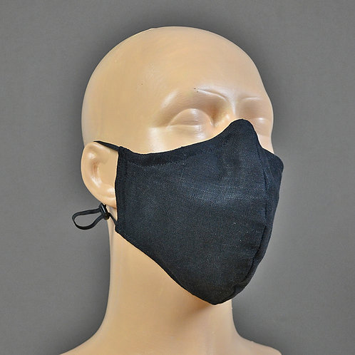 triple layer black linen face mask